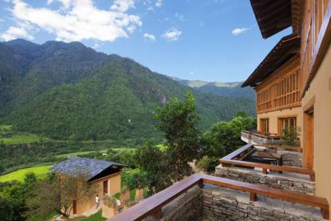 Uma Punakha -Accommodation - View from Valley View Room Terrace